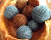 Japanese Weight  Wool Yarn in Varigated Denim Blue and Varigated Browns 3 each 6 Skeins