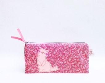 cat pencil case, pencil case, zipper pouch, pink flower pouch, cute pouch, school supply, teens gift, friends gift, pencil pouch, pencil bag