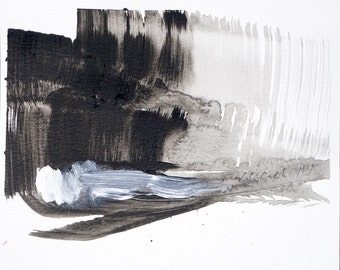 """Black and White Abstract Watercolor,  8x10"""", original art  """"Painting 37- Landscape"""" abstract expressionist painting, modern art gallery wall"""