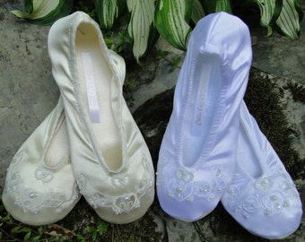 Custom Soft ballet slippers womens wedding heart in ivory or white flat bridal shoe embroidered pearled