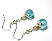 Aqua Earrings, Sparkling Crackled Glass, Silver, Spiiritcatdesigns