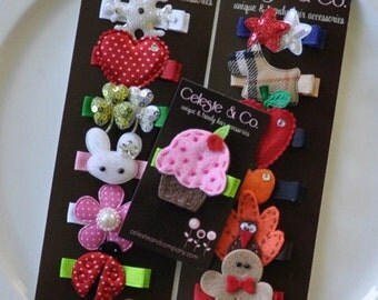 Holiday Clip Set - Girl Hair Clips - Infant Hair Clips - Hair Bows - 12-Month Year Round