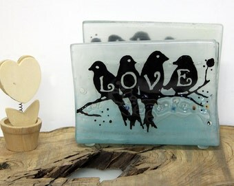 Napkin holder Fused Glass love birds Design landscape, letter holder, memo holder, lignt blue fused glass