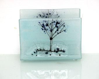 Napkin Holder , Fused Glass  Calm light blue  landscape, housewarm hostess gift .