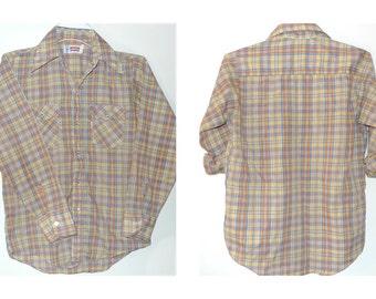 Vintage LEVI'Ss Western Plaid Shirt X-SMALL Mellow Yellow Pale Orange Lt Blue Oxford ButtonDown Rockabilly Country Crooner Harajuku Rock