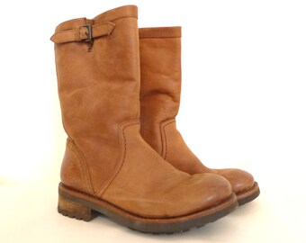 VTG gold brown campus boots leather sz 6 US women's distressed slouch tall pull on buckle shoes retro modern old frye billy boot boho SaLe!