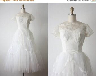 25% Memorial Day Sale 50s wedding dress / 1950s white lace wedding dress