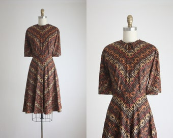 1960s autumnal day dress