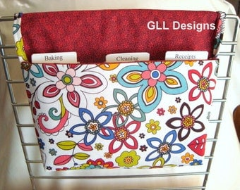 Coupon Organizer / Budget Organizer Holder - Attaches To Your Shopping Cart / Swirly Gig Floral
