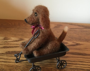 Wagon Tails-Howie the Hound Dog-Needle felted sculpture