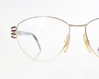 1980s Cat Eye Glasses Metallic Brass Deadstock Eyeglass Frames Oversized Huge Made in Italy Italian 80s Eighties Burgundy Dark Red Hipster