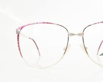ON SALE 1980s Metallic Red Eyeglasses Wire Rim Womens Oversized Italian Chic Eyeglass Frames Optical Deadstock Retro Glam Rocker Indie Hipst