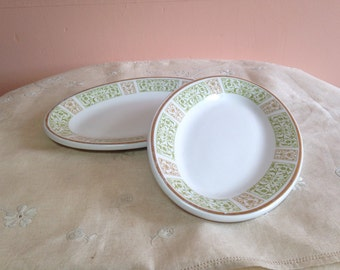 """Vintage Oval Plate Set Small Shenango China Restaurantware Diner 8"""" Green and Brown Border"""