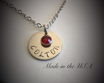 Personalized stainless steel necklace with Swarovski Crystal birthstone
