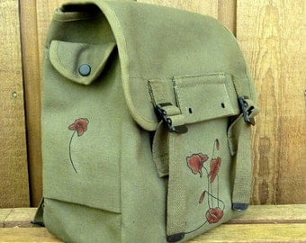 Poppies on Large Canvas Messenger Bag Backpack / Rucksack - Hand Painted