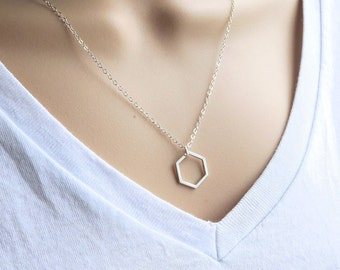 Geometric Necklace, Sterling Silver Hexagon Necklace - layering - minimalist - simple - geo jewelry