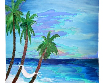 Hammock Palms Beach Window Curtains from my art