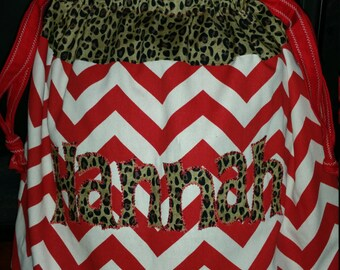 Custom Personalized Christmas Special Delivery Santa Sack Cheetah Gift Bag
