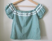 SAMPLE SALE 1950's style peasant gypsy blouse green gingham Size S