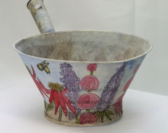 Cottage Farmhouse Painted Metal Bowl with Garden Flowers