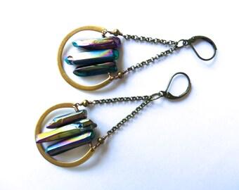 Rainbow Titanium Quartz Crystal Point Earrings Swing Raw Rough Stone Jewelry