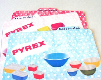 Pyrex Dividers - Set Of 6 -Recipe Dividers - Retro Dividers - 1950's Kitchenware - Mid Century Kitchen - Recipe Card Extra - Retro Kitchen