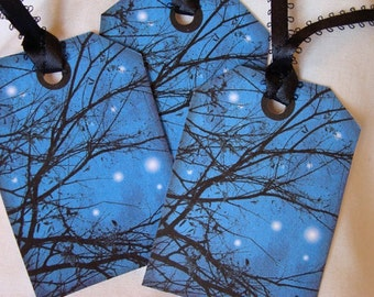 Starry Night Tags,Set of 6,Cobalt Blue Sky,Black Branch Tags,Night Sky Tags,Nature Tags,Thank Yous,Starry Tags,Ready to Ship,Direct Checkout