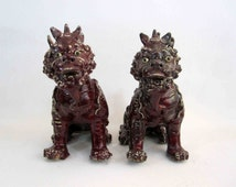 Vintage Porcelain Glazed Japanese Foo Dog or Foo Lion Pair. Handmade. Circa 1950's.