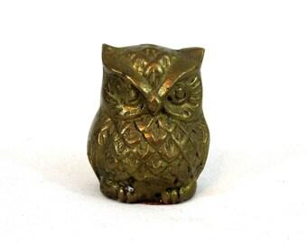 Vintage Brass Owl Figurine. Circa 1960's.