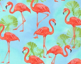 Robert Kaufman Fabric Flamingo Paradise Water, Choose your cut