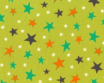 Atomic Stars Lime Michael Miller Fabric, Choose your cut