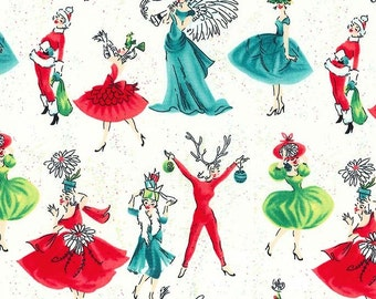 Michael Miller Christmas Fabric Holiday Gals Cream, Choose your cut