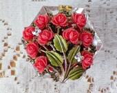 Vintage Jewelry Embellished Vintage Salt Cellar Ring Holder, Presentation Box / Holder, Engagement Ring Box / Holder, Peach Tea Roses, Rose