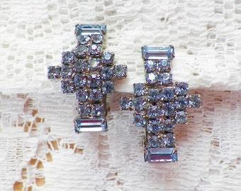 Vintage Light Blue Rhinestone Silver Tone Clip On Earrings, Geometric, Cross, Rhinestones, Something Blue, Pastel Blue