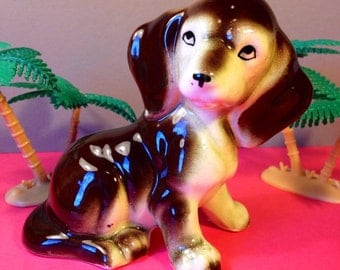 Dog Figurine - Ceramic Dog - Vintage Dog Ornament - 1960s Collectibles