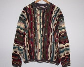 COOGI Australia Sweater L, Cotton Rare 15 Colors FALL Earth Tones, Long Sleeve Crew Neck Sweater, Hipster Textured Pullover Large