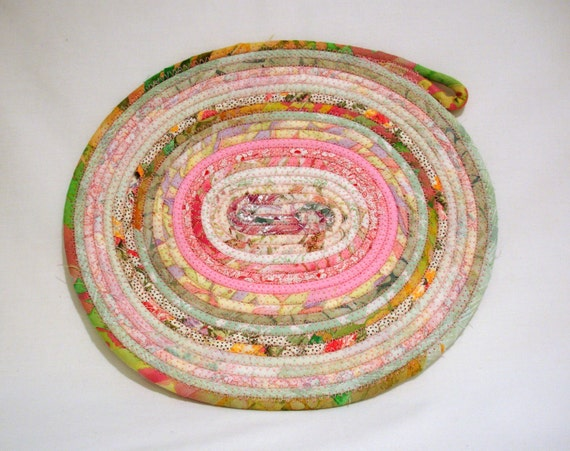 Springtime Oval Coiled Fabric Table Mat, Candle Mat