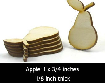 Unfinished Wood Pear - 1 inch tall by 3/4 inch wide and 1/8 inch thick wooden shape (LC-PEAR05)
