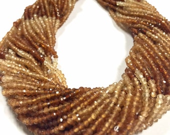 Hessonite Garnet Microfaceted rondelles WHOLE STRAND