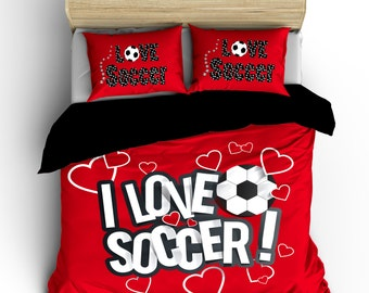 I Love Soccer Bedding, Red or any color,  Personalized with your Name -Toddler, Twin, F-Queen or King Size