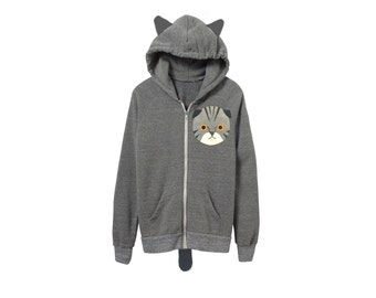 Geo Scottish Fold Cat Hoodie - Fleece Hooded Zip Sweatshirt with Ears and Tail in White and Heather Grey - Unisex Size XS-2XL
