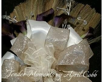 Ivory and Gold Bling Wedding Broom with Purple Calla Lilies, Jumping Broom, Decorative Broom, Jump Broom, Ceremony Broom, Keepsake Broom