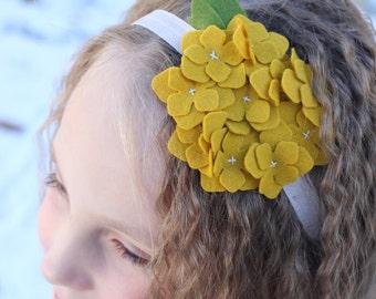 Mustard felt hydrangea flower headband