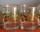 """Set of 4 Lenox Holiday Old-Fashioned Glasses, Juice Glasses, Christmas Glasses, Holly Leaves & Berries, Heavy Bases, 4"""" High, 3.25"""" Diameter"""