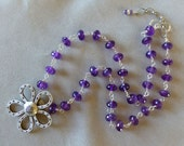 Amethyst and Thai Silver Flower Necklace