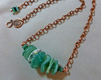 Ancient Roman Glass Necklace,  Ancient Roman Glass and Copper Necklace