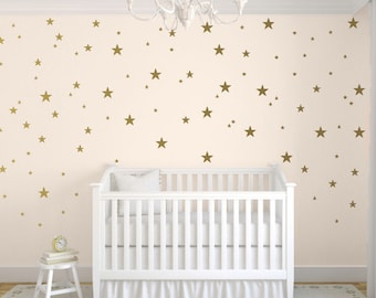 "Gold Star Decals, Star Wall Decal, Nursery Wall Decals, Star Wall Stickers, Baby Room, Easy Peel and Stick Decals, 1"" 2"" 3"" Star Pack"