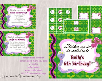 Digital Reptile Girl Birthday Invitation with Printable Party Pack DIY