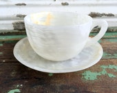 Vintage Teacup Tea Cup and Saucer  White Oynx carved agate