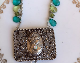 Vintage Repousse Cameo pendant Silvertone Green and blue Lucite beads